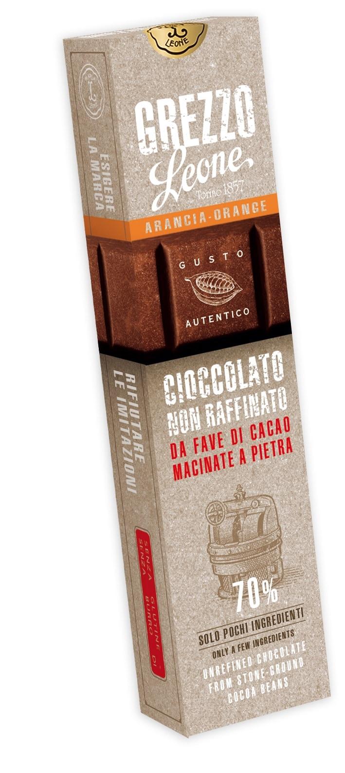 Leone Cioccolato Grezzo Arancia 55g